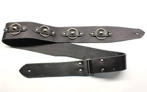Black Leather Guitar Strap w/ Steel Rings