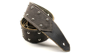 Black Leather & Denim Guitar Strap w/ Studs