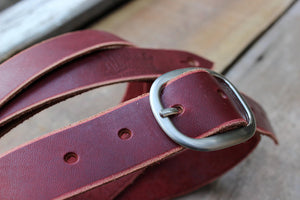 Skinny Leather Guitar Strap - Ox Blood
