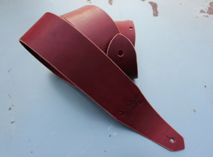 Ox Blood Red Leather Guitar Strap