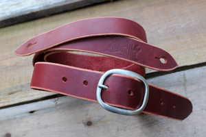 Ox Blood Skinny Leather Guitar Strap