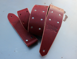 Ox Blood Red Leather Guitar Strap with Small Studs