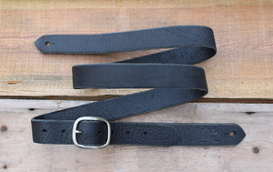 Skinny Black Leather Guitar Strap