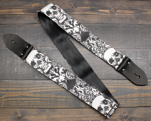Guitar Strap With Skull And Flames Made On Custom Printed Fabric and Seat belt Material