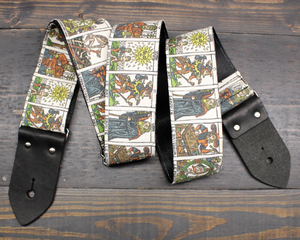 Guitar Strap with Tarot Card Illustration Made On Custom Printed Fabric and Seat Belt Material