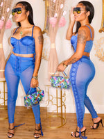 LACE ME UP 3 PIECE PANTS SET (BLUE)