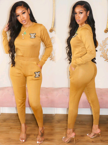 LV LONG SLEEVE BLING SET (MUSTARD)