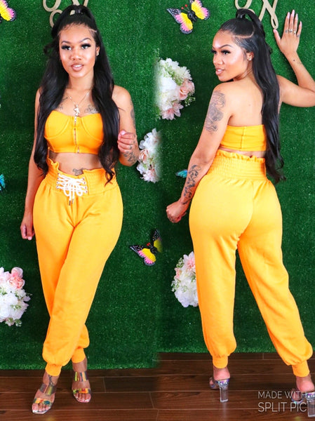 GENIE IN A BOTTLE PANTS SET (ORANGE)