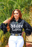 MORE LOVE FEATHER BUTTON UP (BLACK)