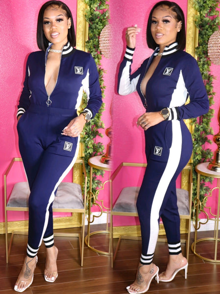 PRISSY LV JACKET AND PANTS SET (NAVY BLUE)