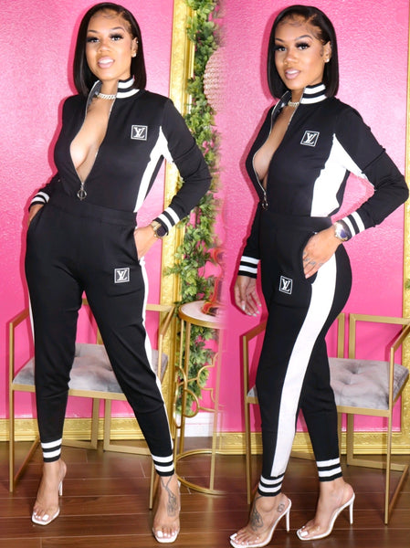 PRISSY LV JACKET AND PANTS SET (BLACK)