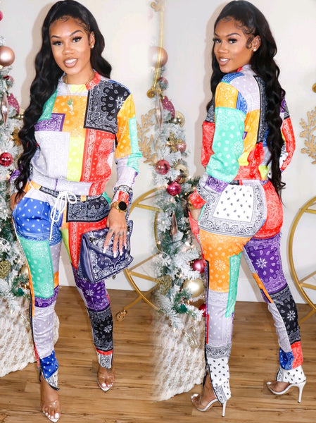 HARLEM MULTICOLOR SWEATSUIT W/ ZIP PANTS