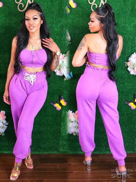 GENIE IN A BOTTLE PANTS SET (PURPLE)