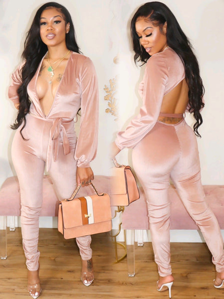 UPPERCLASS VELVET JUMPSUIT (ROSE GOLD)