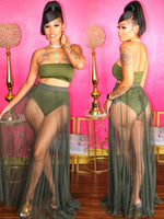 MISS LADY 3 PIECE SET (OLIVE GREEN)