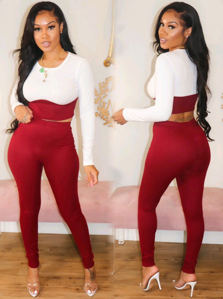 ITS FALL BABY PANTS SET (BURGUNDY)