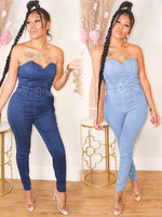 DENIM ON ME BUCKLE JUMPSUIT