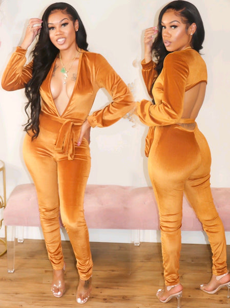 UPPERCLASS VELVET JUMPSUIT (GOLD)