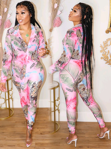 QUEEN OF THE JUNGLE PANTS SET (PINK)