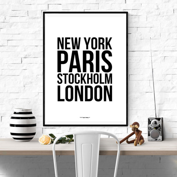 New York Paris Stockholm London Poster