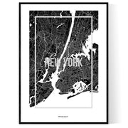 New York Map Frame Poster