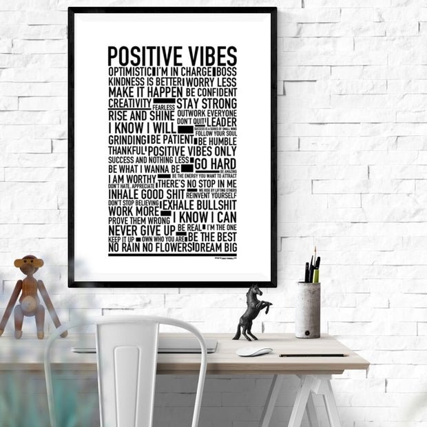Positive Vibes Text Poster