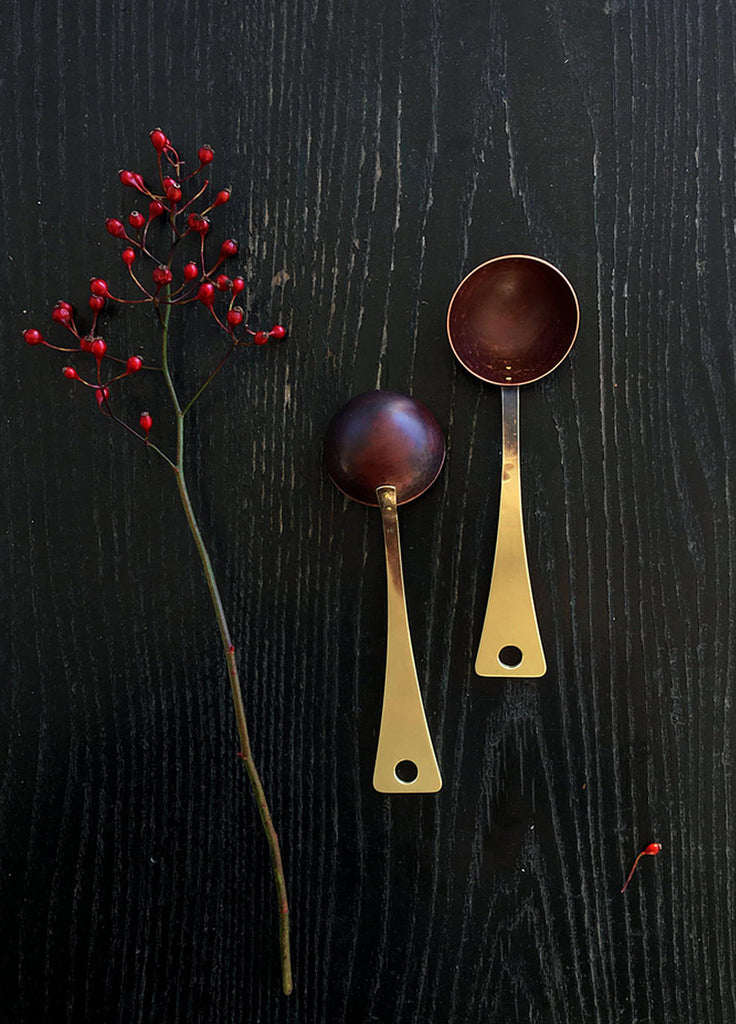 Brass Coffee Scoop, hand forged of brass and copper