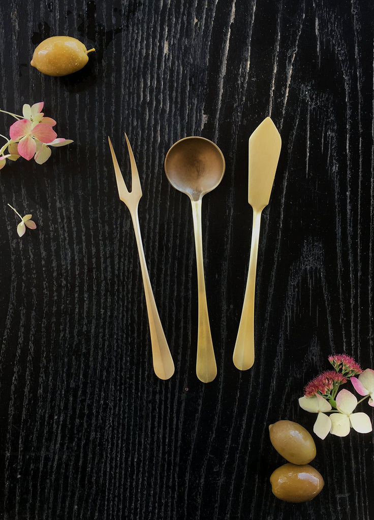 Brass Serving Trio, for serving hors d'oeuvres. Spoon, fork, & knife.