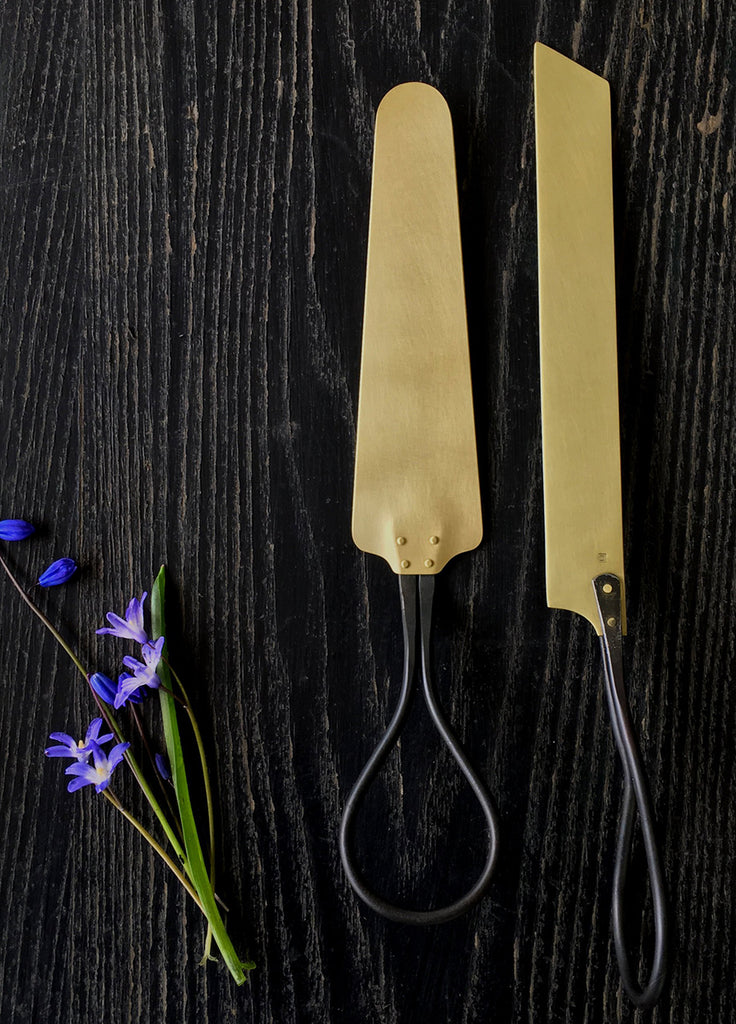 Wedding Cake Serving Set, forged steel and brass