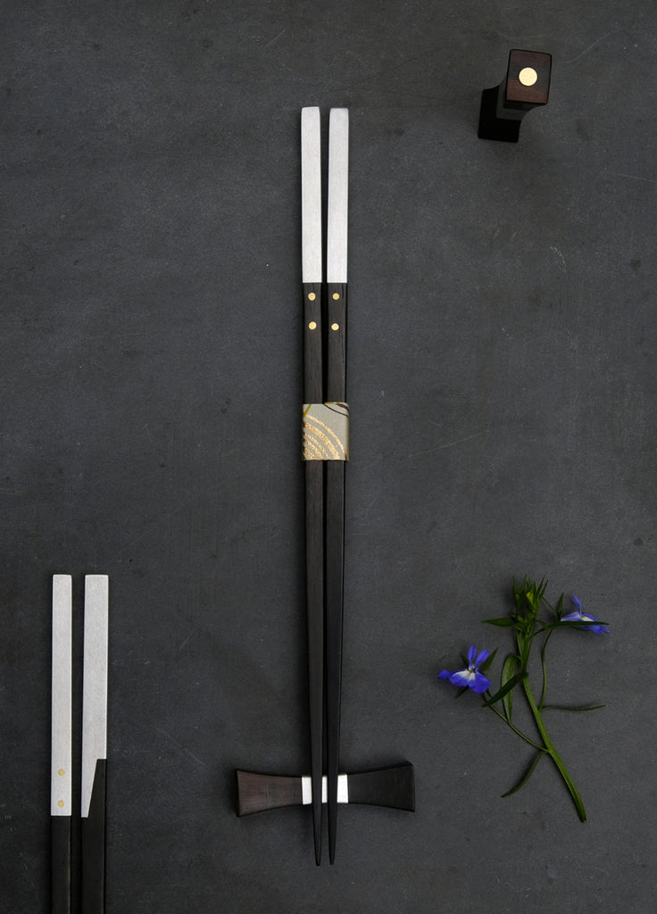 Chopsticks Handmade of Ebony & Aluminum