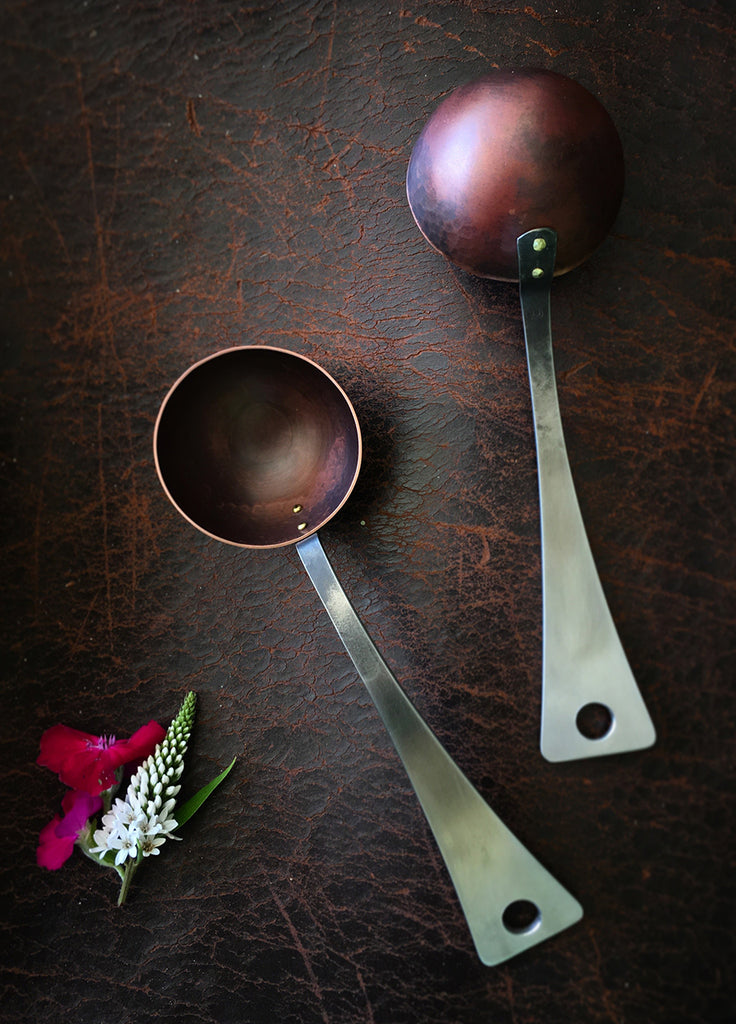 Coffee Scoop with forged stainless handle and copper bowl