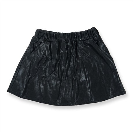 Peach Skirt Black Faux Leather