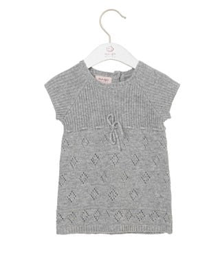 Stickad Klänning Dress Short Sleeve Knee Length Grey Melange