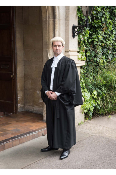 Barristers Gown, Wig and Band Set - Grey & White