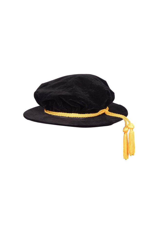 Graduation Doctors Bonnet Cap UK PhD Doctoral Tudor Velvet Hat Gown Accessory