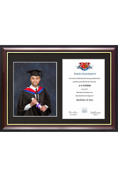 Abertay University - Dual Graduation Certificate and Photo Frame - Traditional Style