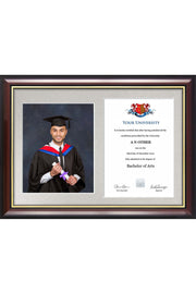 Dual Graduation Certificate and Photo Frame - Traditional Style
