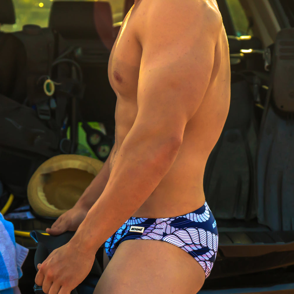 Navy rope brief swimwear