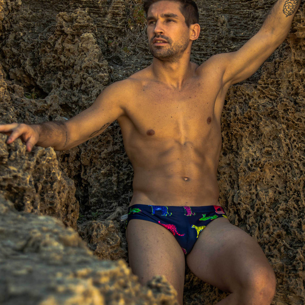Apex predator brief swimwear with colourful tigers on navy base