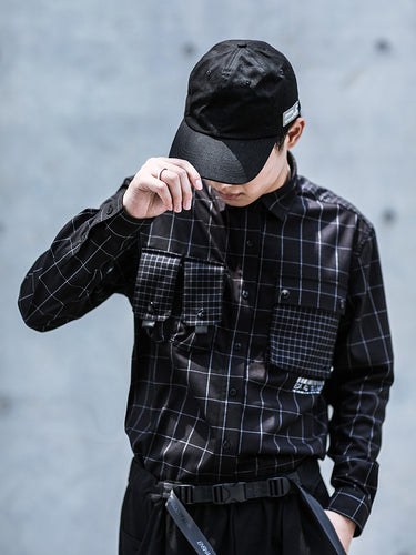 ENSHADOWER black plaid  loose multi-pocket shirt - The Crepuscule