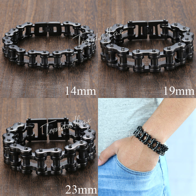 Black Biker Bicycle Link Bracelet - The Crepuscule