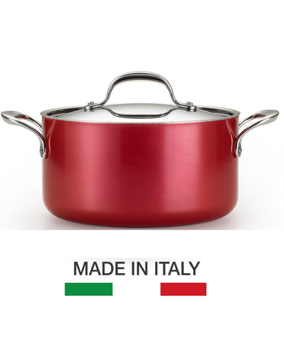 Lagostina Rossella 24cm Stewpot - Made in Italy, RUBY RED