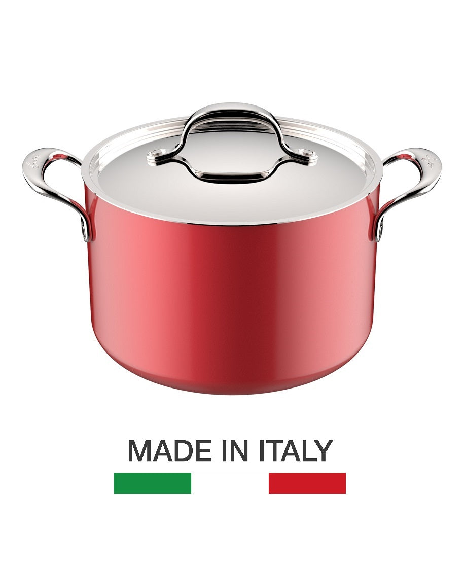 Lagostina Rossella 24cm Stockpot - Made in Italy, RUBY RED