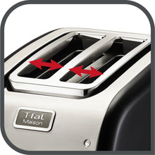 Load image into Gallery viewer, T-fal TT771850 2 slice Maison Toaster Black/Stainless Steel