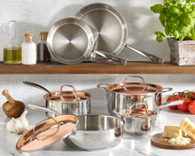 Load image into Gallery viewer, Lagostina Copper Elegance 10 piece Pots and Pans cookware set, induction base