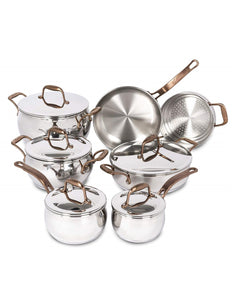 Set includes: 14 Sm saucepan with lid (1.2 L), 16 cm saucepan with lid (1.7 L), 20 cm saucepan with lid (3.3 L), 24 cm Dutch oven with lid (6.3 L), 26 cm casserole with cover, 24 cm skillet , 20 cm steamer insert