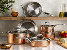 Load image into Gallery viewer, Lagostina Martellata Tri-ply Hammered Stainless Steel Copper Oven Safe 11 piece Cookware Set