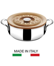 Load image into Gallery viewer, risotto pot made in Italy from Lagostina with Cherry wood lid