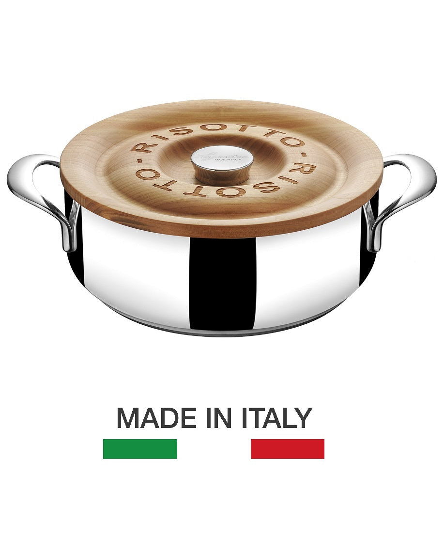 risotto pot made in Italy from Lagostina with Cherry wood lid