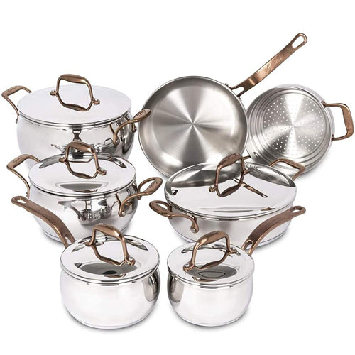 Lagostina Martellata Tri-ply Hammered Stainless Steel Copper Oven Safe 11 piece Cookware Set